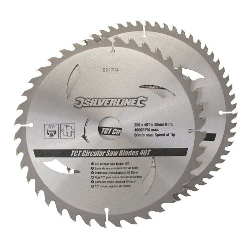 2 Pack Silverline 991704 TCT Circular Saw Blades 40 & 60 Teeth 250mm x 30mm